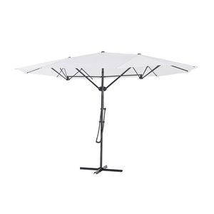Parasol de patio triple vent avec base, 15 pi, blanc