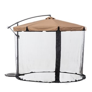 Parasol de patio avec filet Sunjoy, khaki
