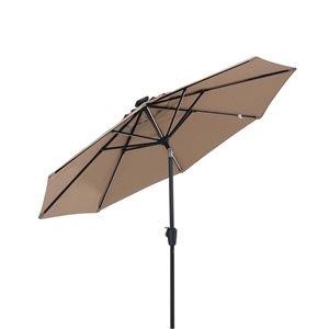 Parasol avec bandes d'éclairage  DEL, 9 pi, brun