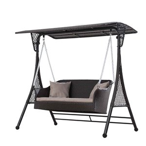Sunjoy Wicker Swing with Canopy - Brown