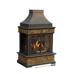 Sunjoy Heirloom Steel Outdoor Fireplace - 56