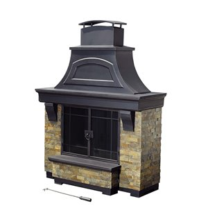 Sunjoy Steel and Faux Stone Outdoor Fireplace - 72