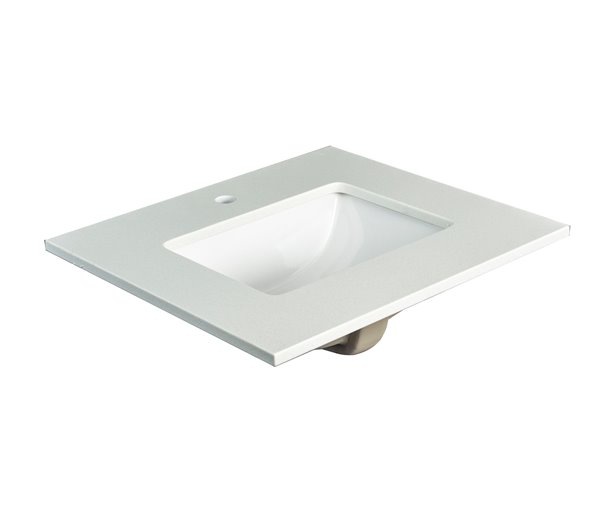 Foremost Lily 25-in x 22-in Vanity Countertop Quartz White Single Hole