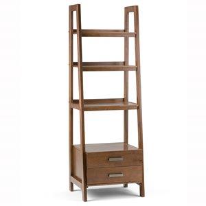"Sawhorse Ladder Bookcase with Storage - 24"" - Saddle Brown"