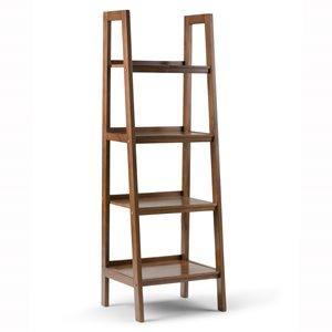 "Sawhorse Ladder Bookcase - 4-Shelves - 24"" - Saddle Brown"