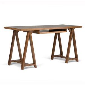 "Sawhorse Home Office Desk - 60""x24""x30"" - Saddle Brown"