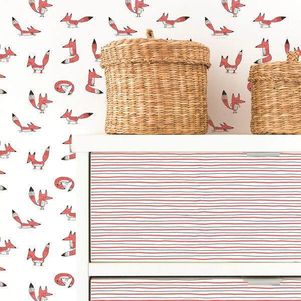 Papier Peint Adhesif Motifs Renards Rose Fonce Gris Rona