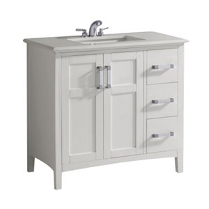 Meuble-lavabo Winston, marbre en quartz blanc, 36