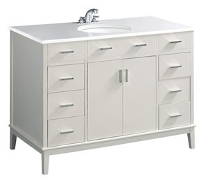 Meuble-lavabo Urban Loft, marbre en quartz blanc, 48