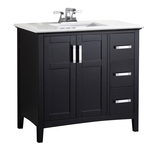Simpli Home Winston 36-in Black With Sink Bombay Off White Quartz Marble Top Vanity