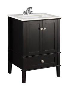 Meuble-lavabo Chelsea, marbre en quartz blanc, 24