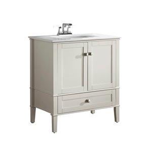 Meuble-lavabo Chelsea, marbre en quartz blanc, 30