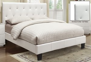 Queen Faux Leather Crystal Tufted Platform Bed - White