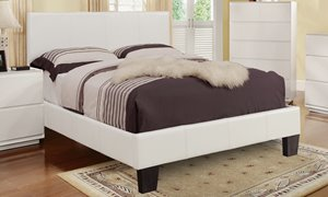 Queen Faux Leather Platform Bed - White