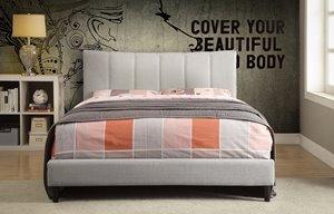 Grand lit de style platforme, blanc cassé