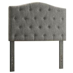 Tête de lit simple capitonnée en tissu, gris