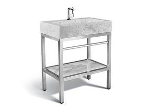 Vanité en acier inoxydable avec lavabo en marbre gris, 30