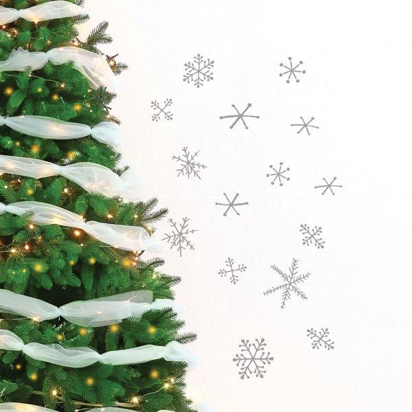 Appliqué mural de Noël, flocons de neige, 2,6' x 2,3', gris