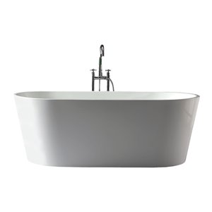Jade Bath Aura One-Piece White Freestanding Tub - 59