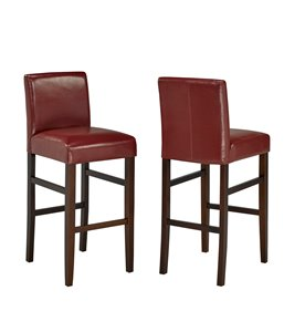 Brassex Red Faux Leather Bar Stool (Set of 2)