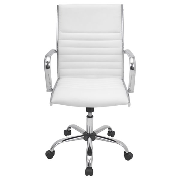 Lumisource Masters 21.75-in x 19.25-in White Faux Leather Office Chair
