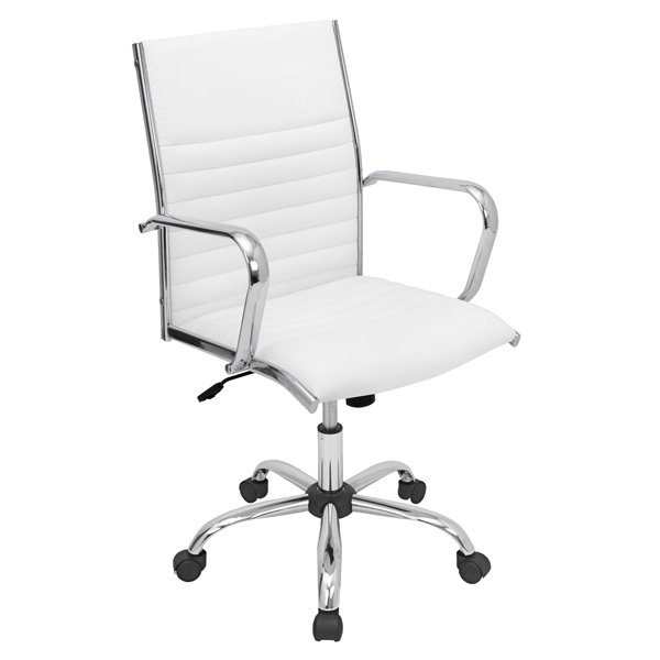 Lumisource Masters 21 75 In X 19 25 In White Faux Leather Office Chair Rona