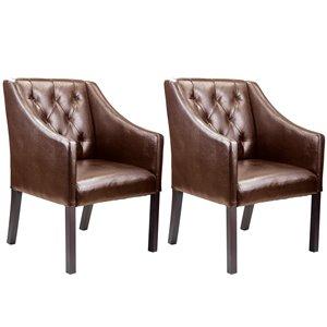 Fauteuils club CorLiving, cuir lié, brun, 2 mcx