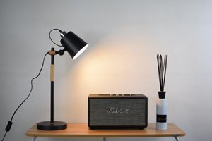 Lampe de table Rita, abaj-jour en métal noir mat, 22