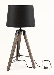 Lampe de table trépied Tanya, abat-jour tissu noir, 25,6