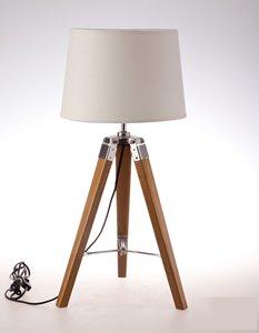 Lampe de table trépied Tanya, abat-jour tissu crème, 25,6