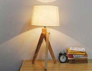 Lampe de table trépied Baja, abat-jour tissu taupe, 24,8