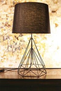 Lampe de table Saturn, abat-jour noir, base métallique