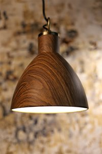 Riley 1-Light Pendant - Metal - Brown/Wood Finish