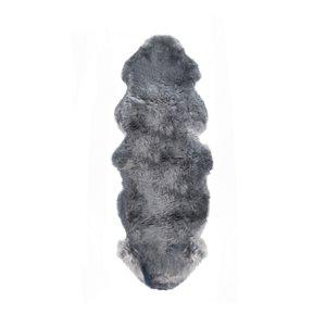 Tapis double en peau de mouton ,2'x 6', gris