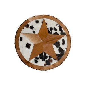 Round Star Stitch Cowhide Rugs - 3.5' - Multicoloured