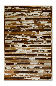 Linear Cowhide Stitched Rug - 5'x 8' - Brown & White