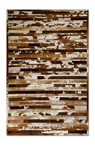Tapis lineaire en peau de vache, 5' x 8', marron/blanc