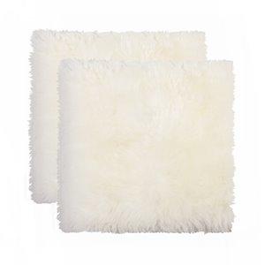 Couverture de chaise peau de mouton , naturel , 2 pqt