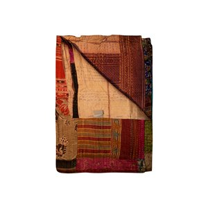 Natural by Lifestyle Brands Kantha 50-in x 70-in 30021 Silk Throw