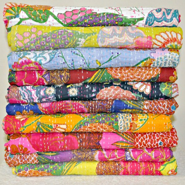 Natural by Lifestyle Brands Kantha 50-in x 70-in Wa0014 Cotton Vintage Handmade Throw