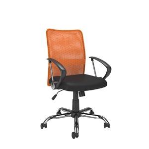 Chaise de bureau avec dossier profilé en mailles, orange