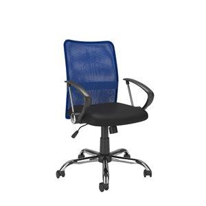 Chaise de bureau avec dossier profilé en mailles, bleu