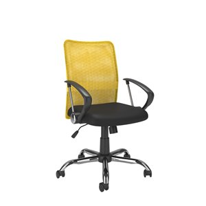 CorLiving Office Chair with Contoured Yellow Mesh Back