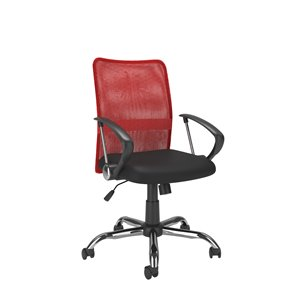 CorLiving Office Chair with Contoured Red Mesh Back