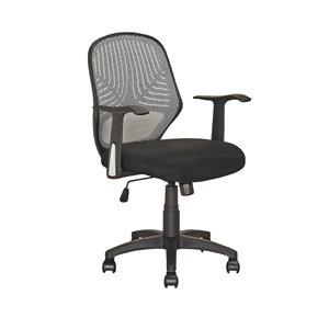 Chaise de bureau avec dossier en mailles, noir