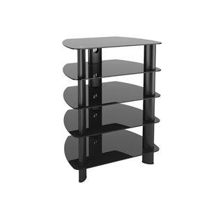 Laguna Stand with Glass Component - Satin Black