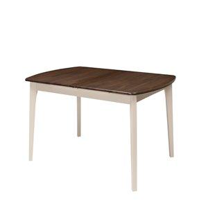 Table extensible Dillon avec rallonge, brun foncé/crème