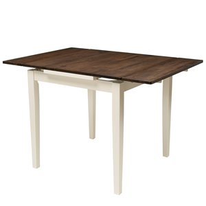 Dillon Extendable Dark Brown and Cream Dining Table