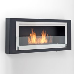 Santa Lucia Wall Mounted Fireplace - Matte Black/Ice Gray
