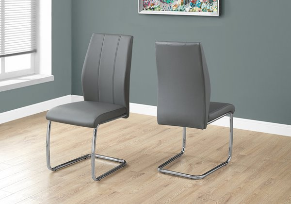 Monarch  Grey Faux Leather Dining Chair (Set of 2)